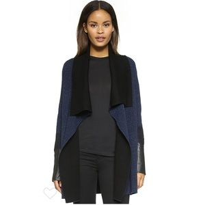 Vince Leather and Wool Cardigan